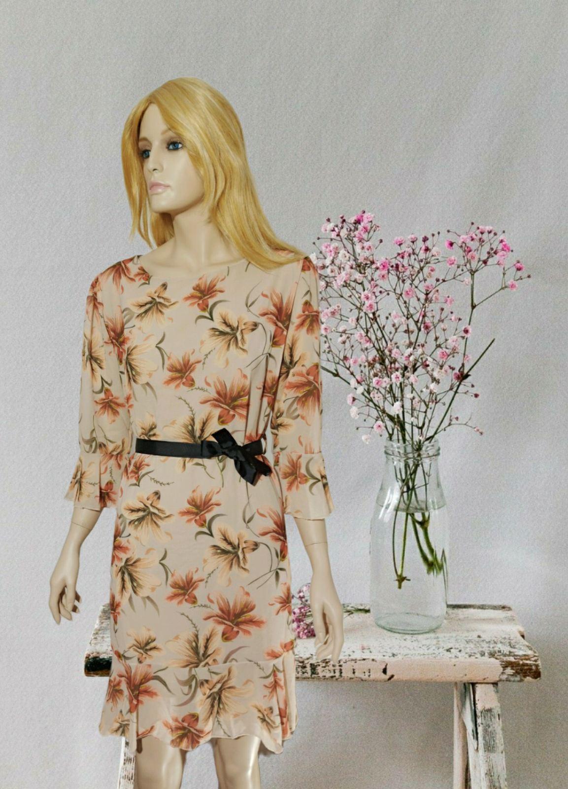 Midi Dress Floral Beige