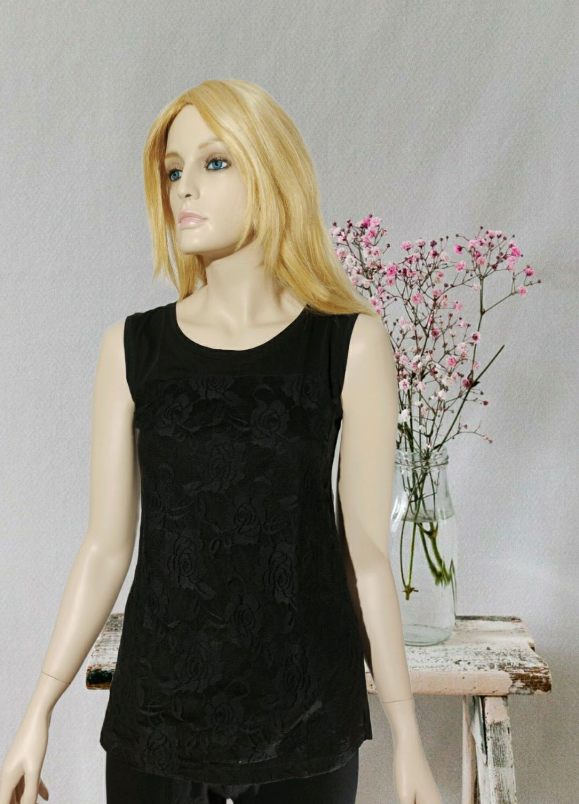 Rose Black lace blouse