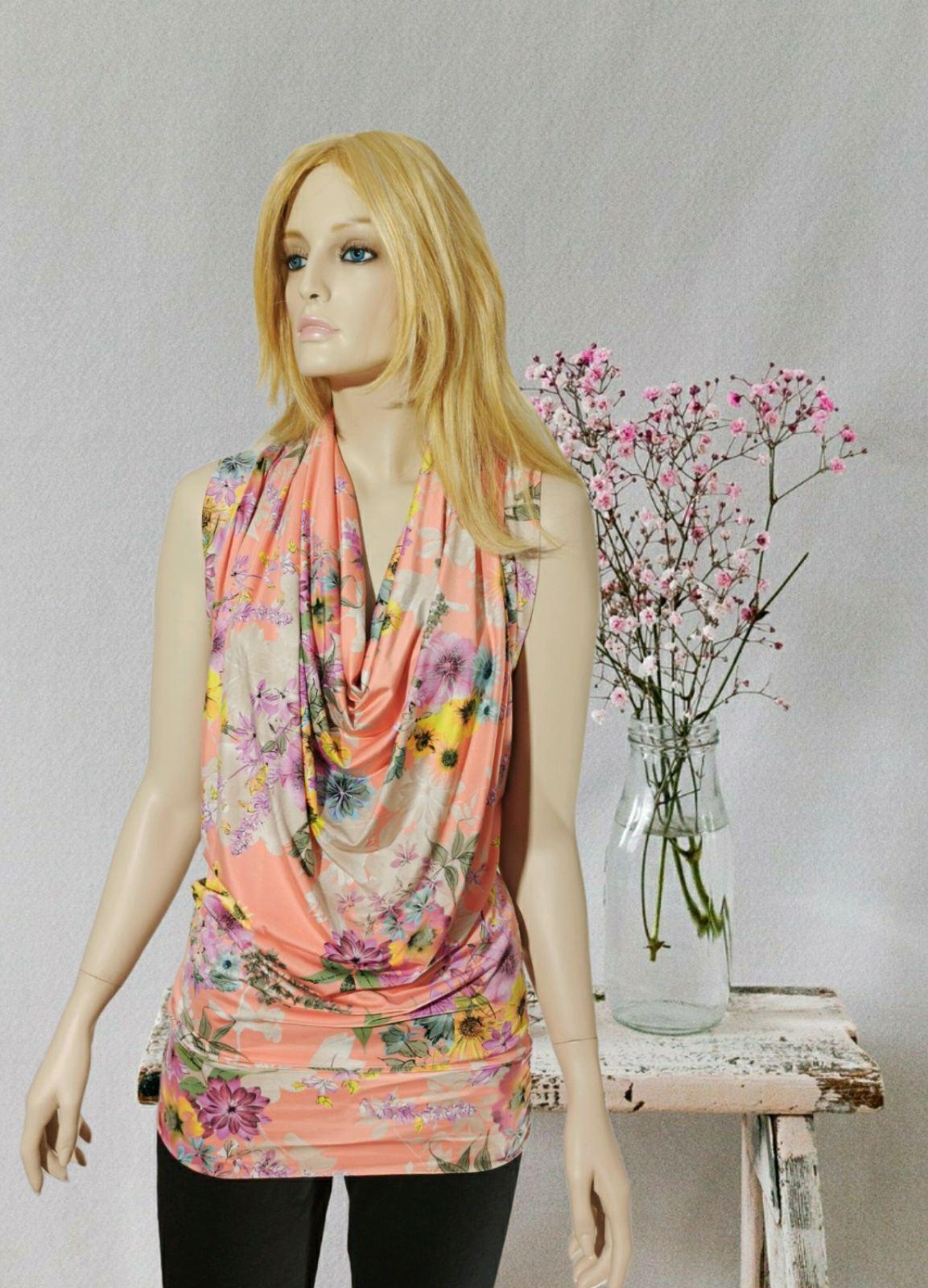 Coral Floral Drape blouse