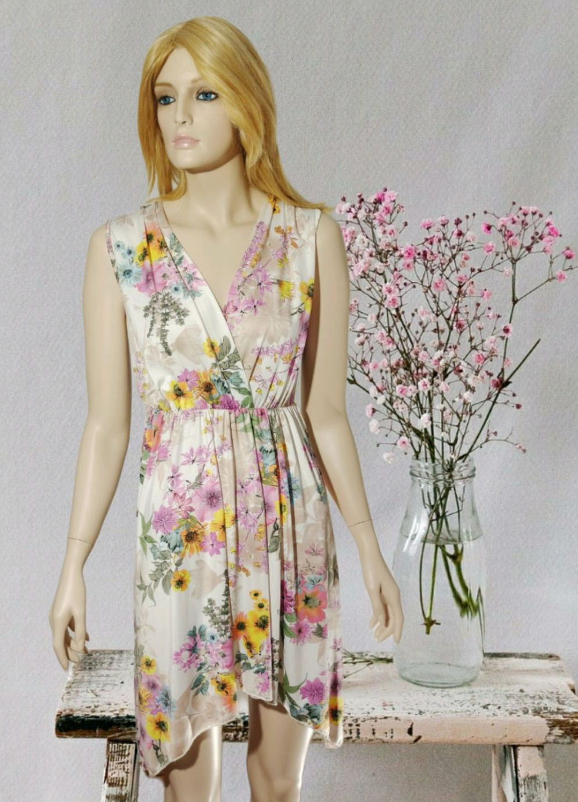 Midi Floral White Dress