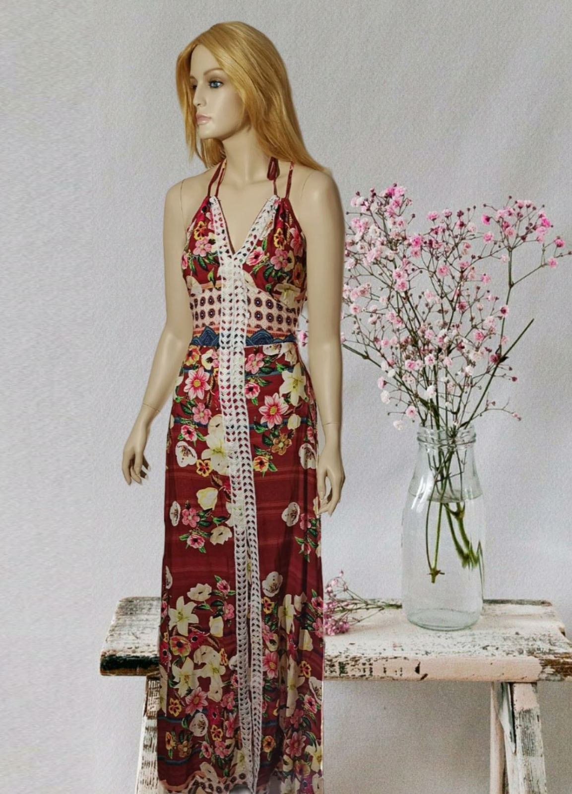 Maxi Floral Red Dress