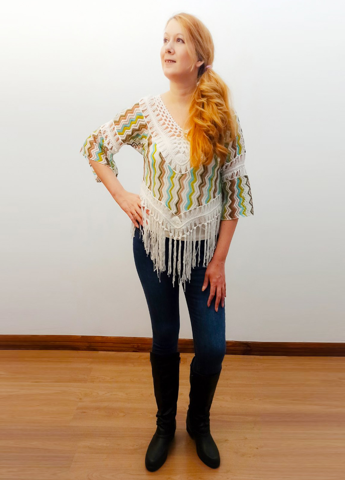 True sleeve blouse with fringes