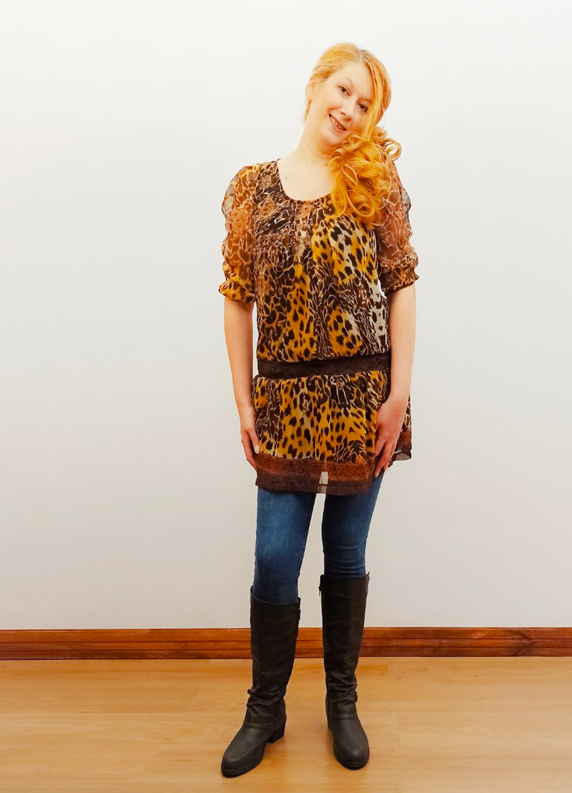 Leopar Brown blouse dress
