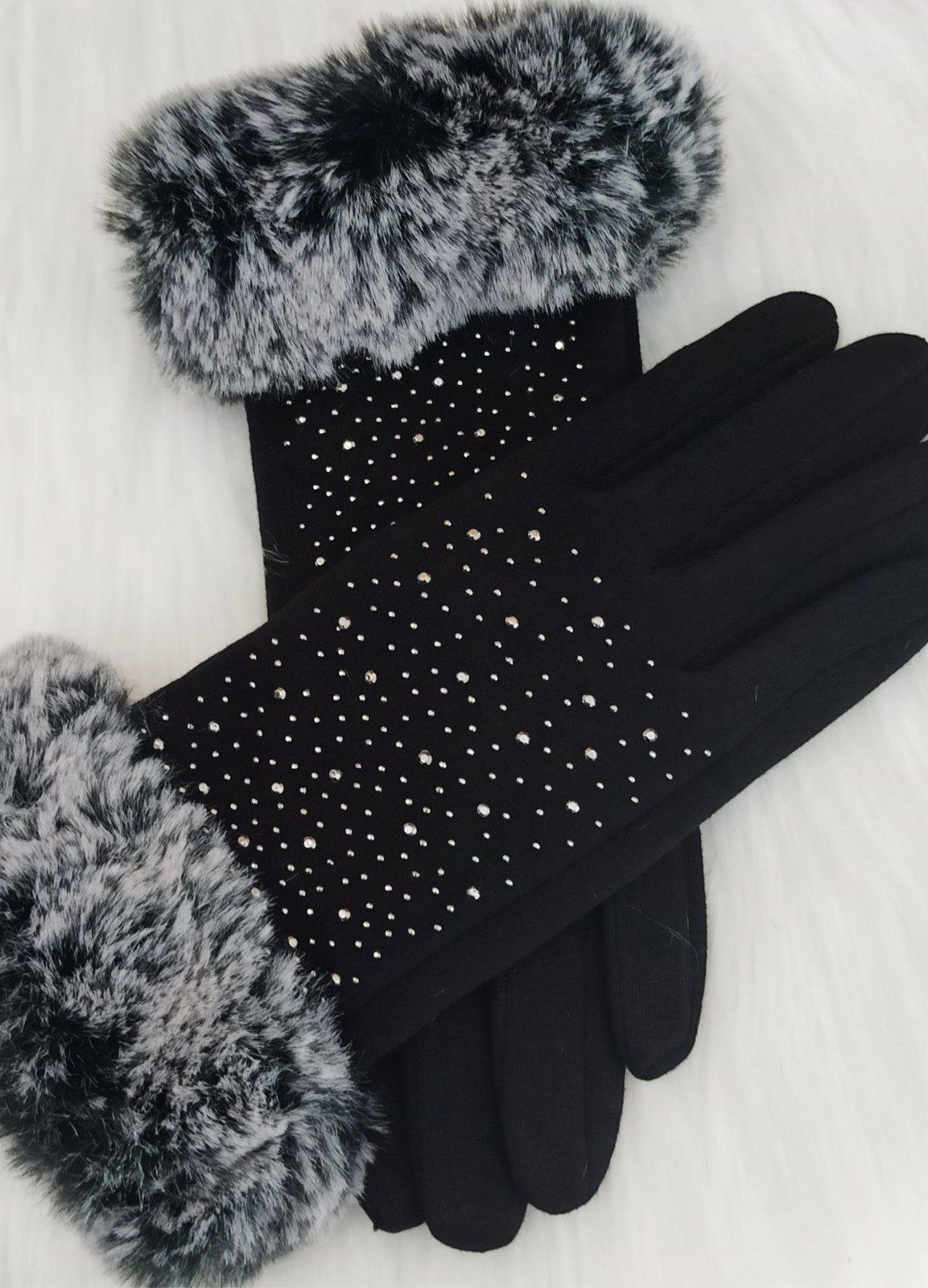 Gloves with fur and Strass