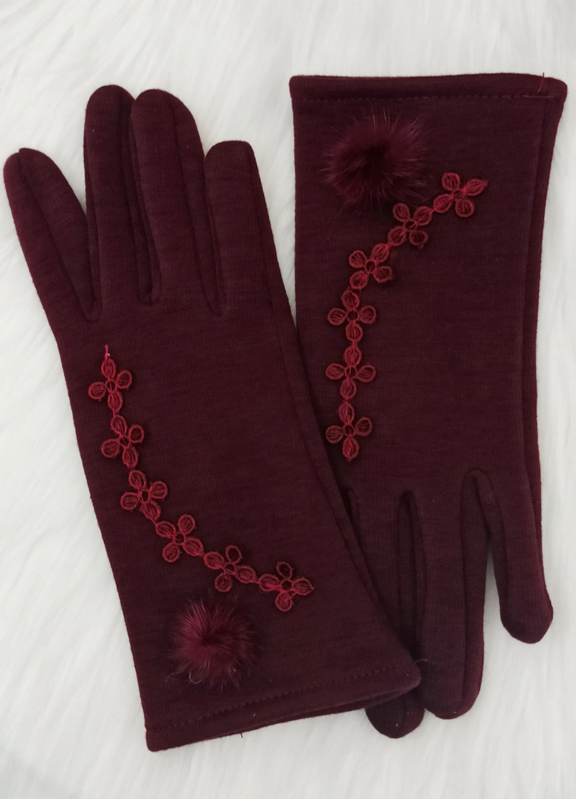 Embroidery and fur gloves