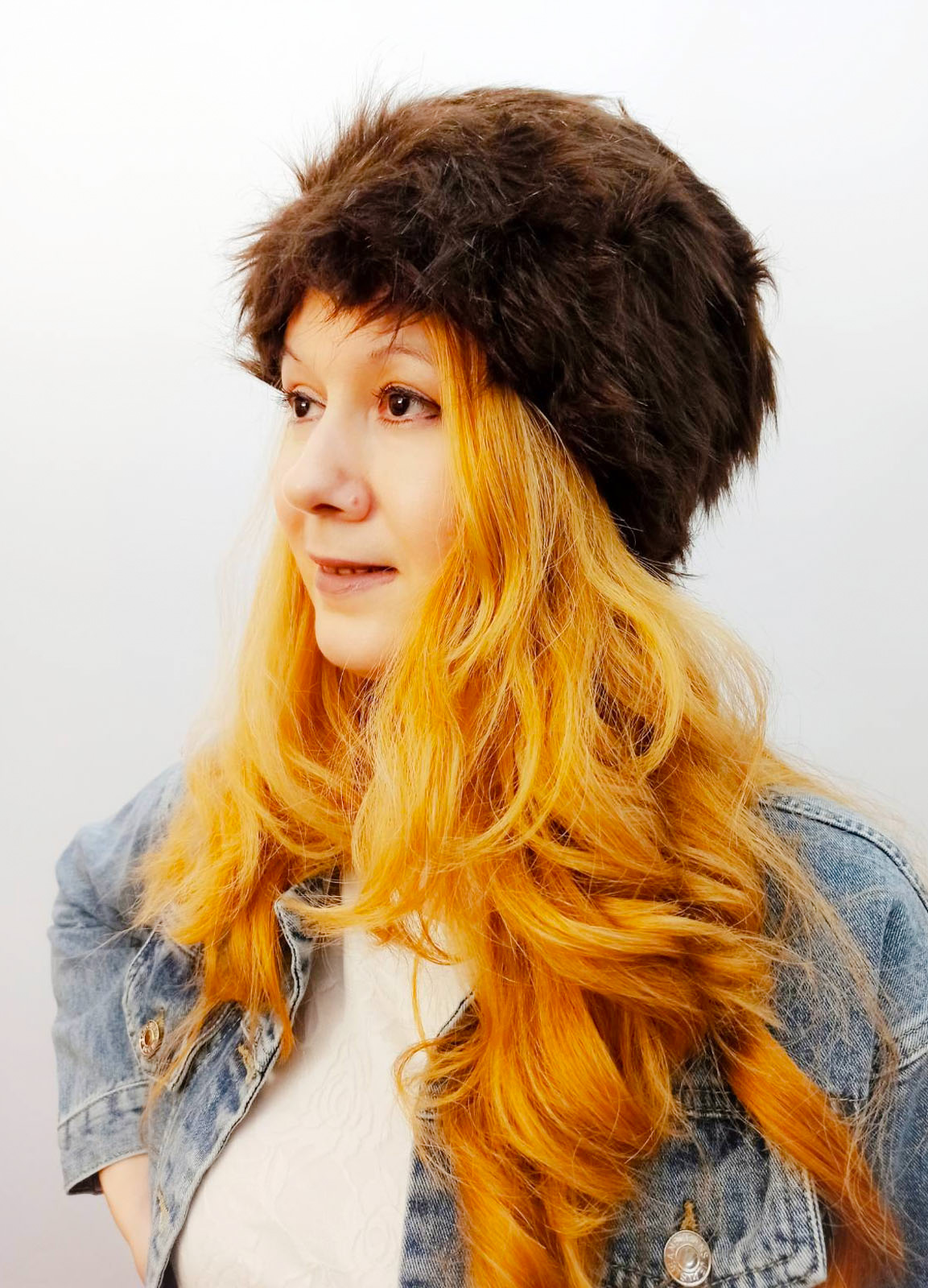 Furry chestnut hat