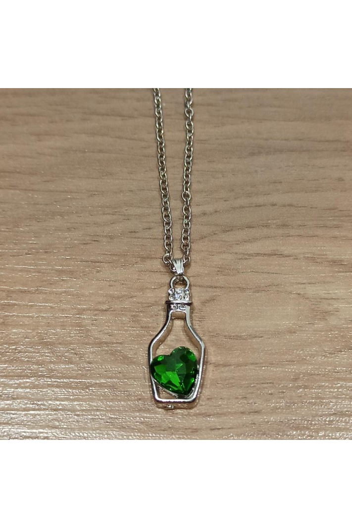 Necklace Small Bottle Heart Green