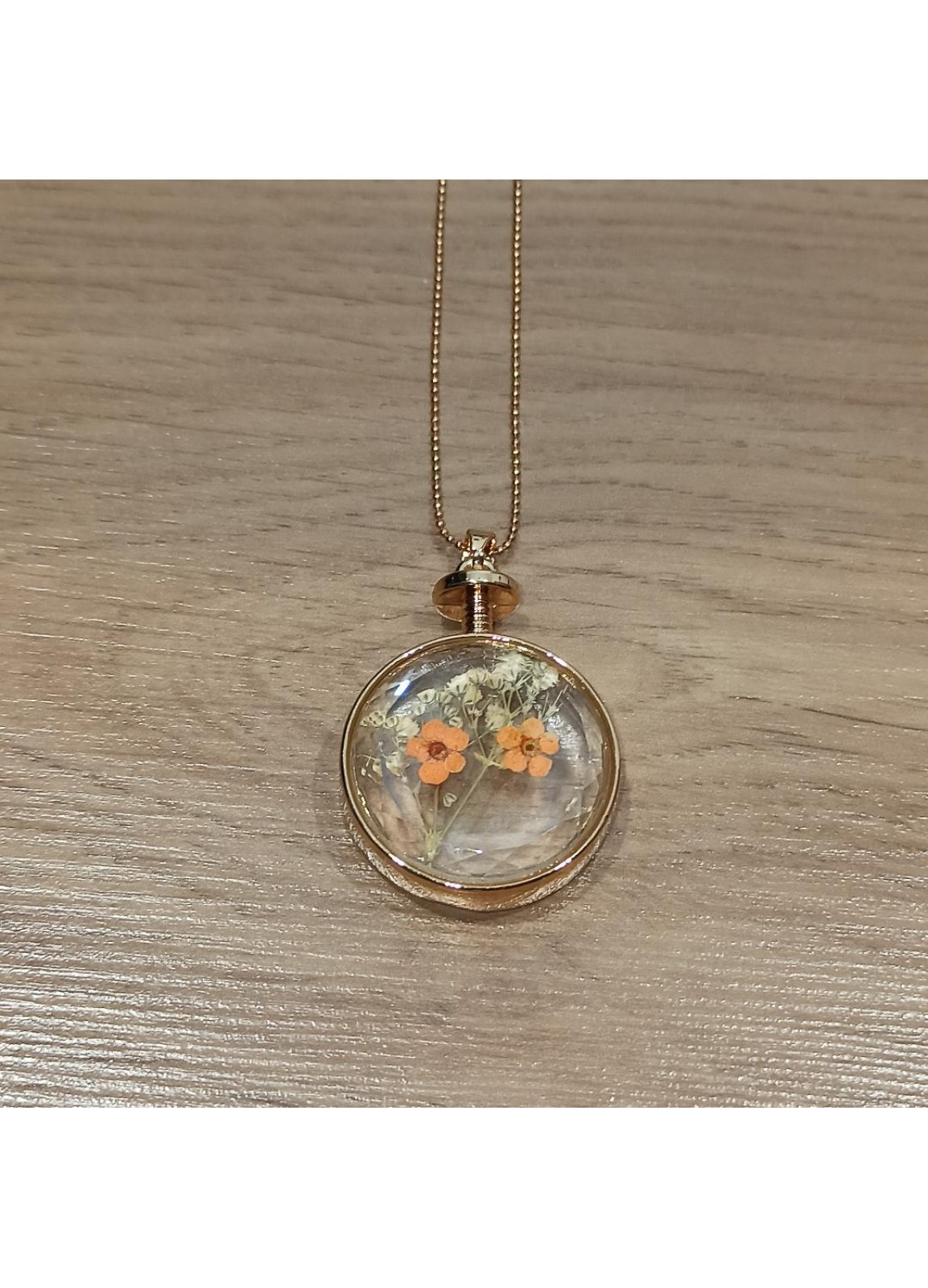 Glass and Flower Necklace 2