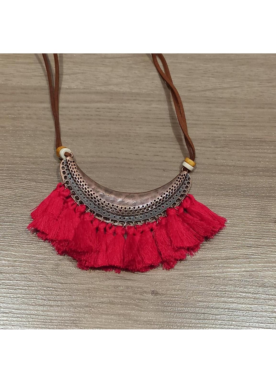 Boho Red Necklace