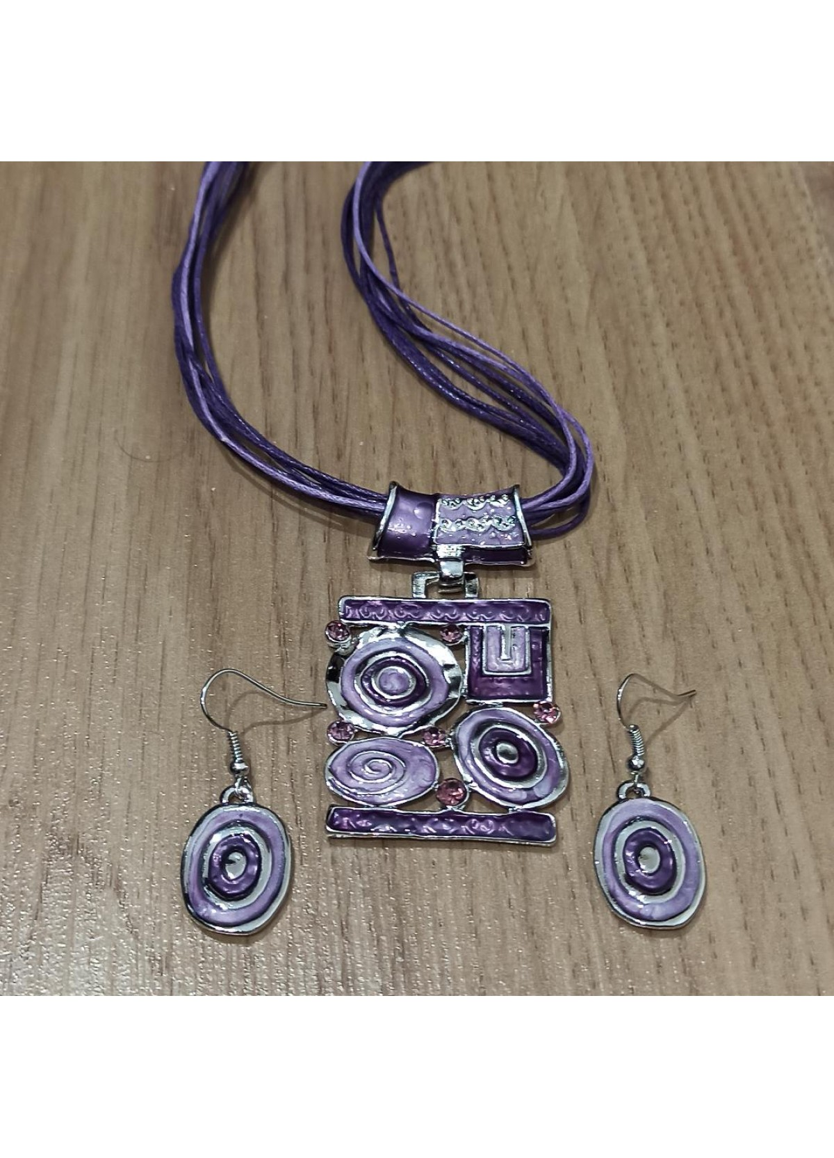 Set Purple Stone & Metal