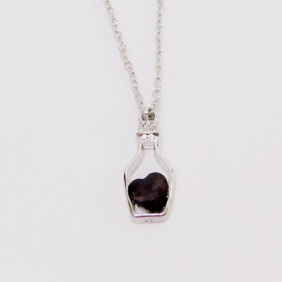 Necklace Small Bottle Heart Purple
