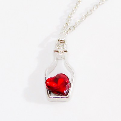 Necklace Small Bottle Heart Red