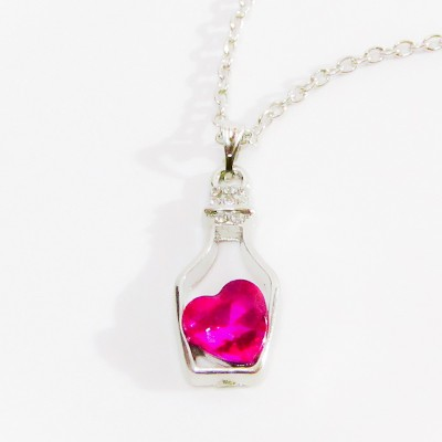 Necklace Small Bottle Heart Pink