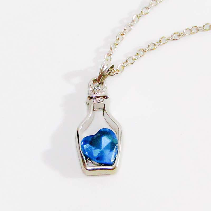 Necklace Small Bottle Heart Blue
