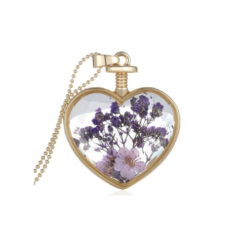 Glass and Flower Necklace Heart