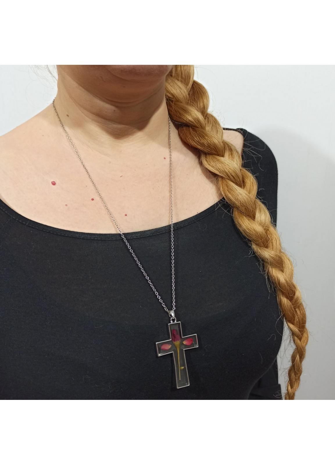 Glass and Flower Necklace Cross