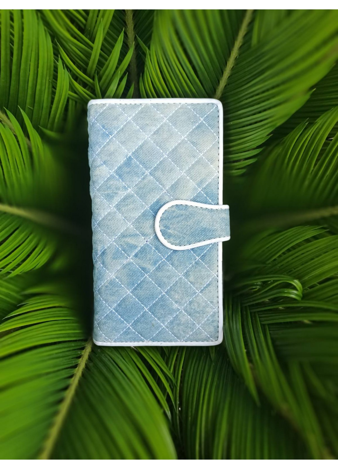 jeans quilted wallet