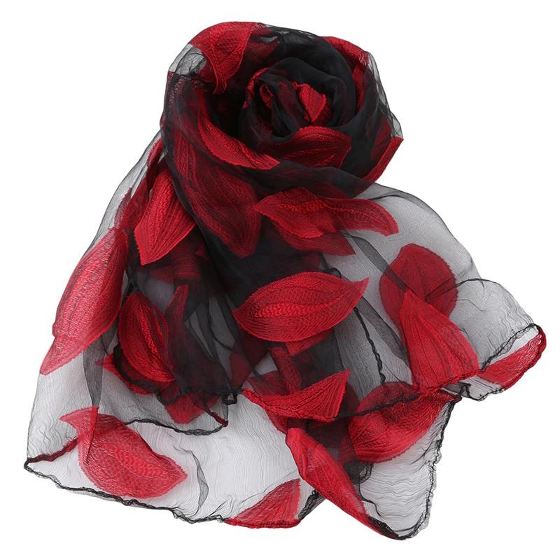 Red leaf scarf