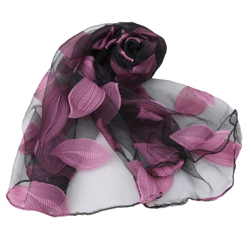 Pink leaf scarf