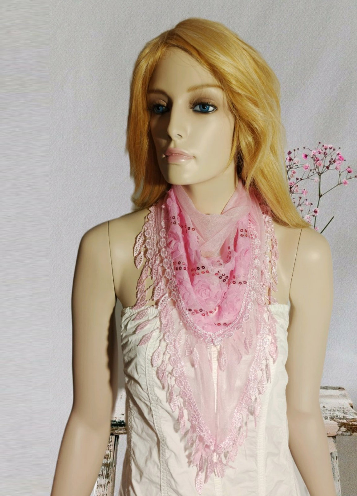 Romantic Flower Pink Scarf