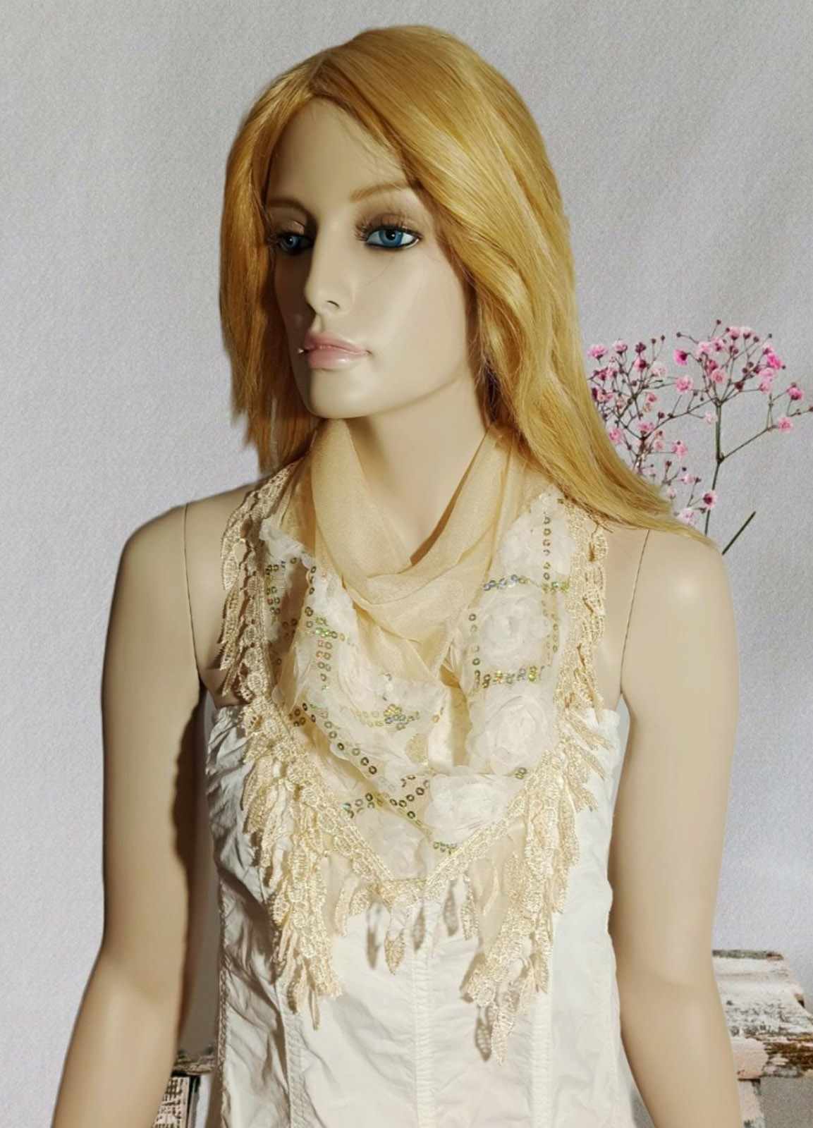 Romantic Flower Beige Scarf