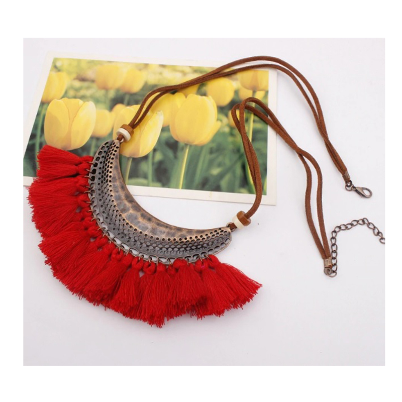 Boho Red Necklace