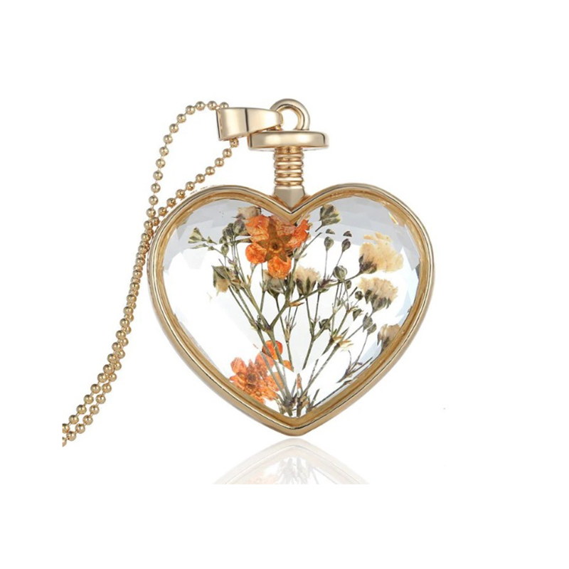 Orange Glass and Flower Necklace Heart